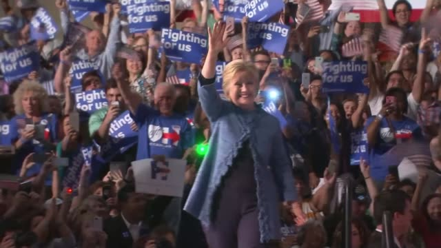 Donald Trump and Hillary Clinton wins in Florida USA Florida INT *** WARNING Hillary Clinton announced onto stage at rally SOT Clinton waving to...