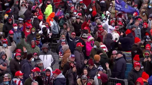 presidential election: donald trump 'going in with our lawyers' when polls close; usa: pennsylvania: ext donald trump supporters with flag... - pennsylvania stock-videos und b-roll-filmmaterial