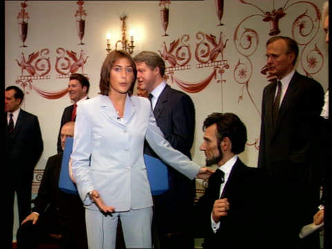 fc5f luisa england london madame tussauds int i/c standing beside us politicians waxworks unfinished waxwork head of george w bush cms unfinished... - gore stock videos & royalty-free footage