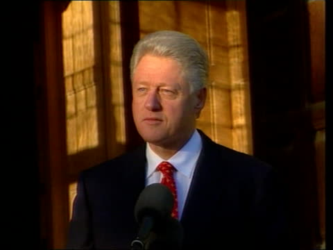 george w bush to be next president dc4n u'lay england buckinghamshire chequers ext us president bill clinton speaking to press sot wishes... - bill clinton stock videos and b-roll footage