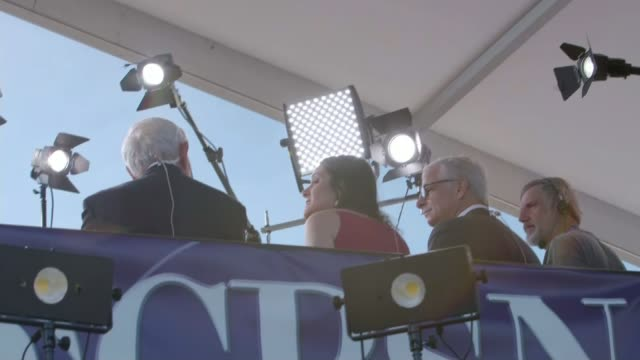 Hillary Clinton and Donald Trump prepare for first Presidential debate New York Hempstead Hofstra University Press and camera operators Low angle...