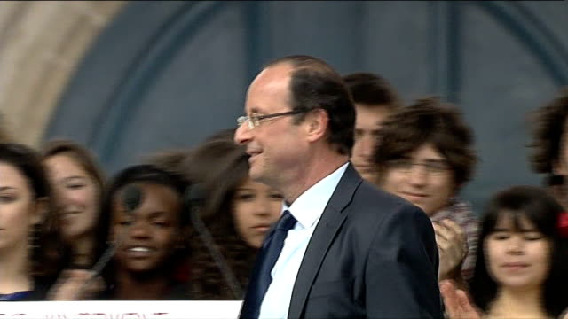 presidential election: hollande ahead as campaign enters final week; various of socialist presidential candidate francois hollande at rally - françois hollande stock videos & royalty-free footage