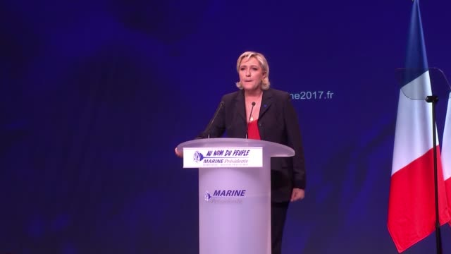 Le Pen fights to reach round two Presidential election Le Pen fights to reach round two Marseille Le Pen speaking at rally SOT Crowd at rally