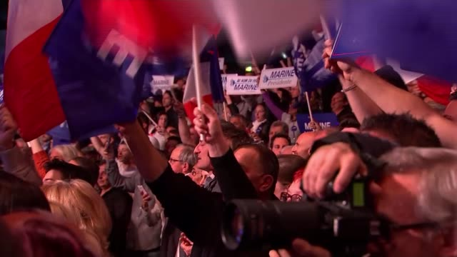 Le Pen fights to reach round two Presidential election Le Pen fights to reach round two Crowd at rally singing the French national anthem La...