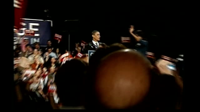 obama/huckabee win in iowa reporter to camera sot - 2008 stock videos & royalty-free footage