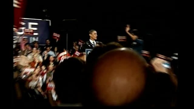 obama/huckabee win in iowa reporter to camera sot - iowa stock videos & royalty-free footage