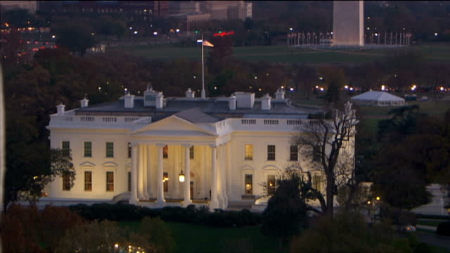 Polling Day USA Washington DC Aerials of White House at night