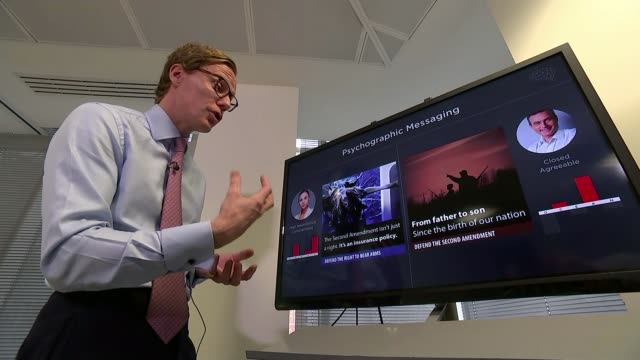 Report from Pennsylvania ENGLAND London Alexander Nix interview SOT Various shots Nix explaining profiling to reporter Close shot psychological...