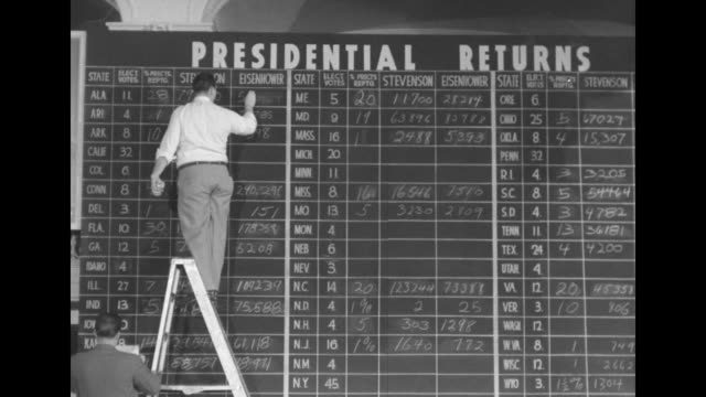 cu presidential election returns chalkboard / vs man on ladder erases and writes in figures on chalkboard showing the race between adlai stevenson... - adlai stevenson ii stock videos and b-roll footage