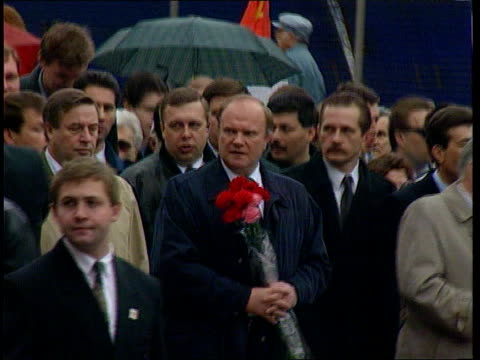 second ballot itn ms zuganov along with others in parade tlms communist party supporters along in street with red flags and pictures of stalin - ballot slip stock videos & royalty-free footage