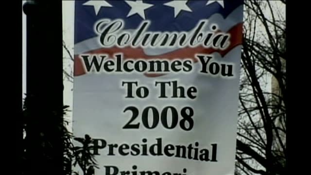 south carolina primary preview usa south carolina ext seagulls over sea at dawn welcome to columbia sign barack obama walking amongst supporters... - south carolina stock videos & royalty-free footage