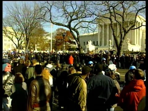 supreme court hearing itn usa washington supporters of democratic presidential candidate al gore protesting outside us supreme court cbv ditto mass... - gore stock videos and b-roll footage