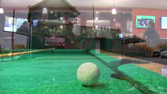 vídeos y material grabado en eventos de stock de the divided states of america youngstown ohio **music heard sot** general view of 'the vista lounge' restaurant int pool table with man playing... - vista general