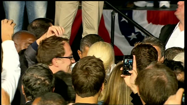 three days to go obama greeting supporters vox pops - 2012 united states presidential election stock videos & royalty-free footage