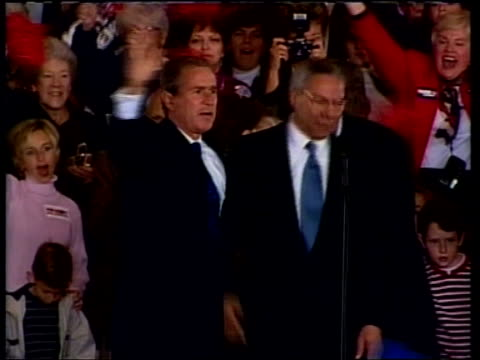 vidéos et rushes de presidential election: too close to call:; a)23.00: james mates itn usa: florida: jacksonville: int republican presidential candidate george w bush... - élection
