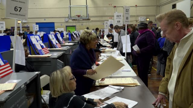 Presidential election voters casting their votes during mid day / Upper West Side PS 163 West 96th Street Manhattan New York City USA