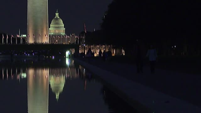 washington dc general views us flags with the washington monument in the background the washington monument and reflecting pool / washington monument... - washington monument stock videos & royalty-free footage