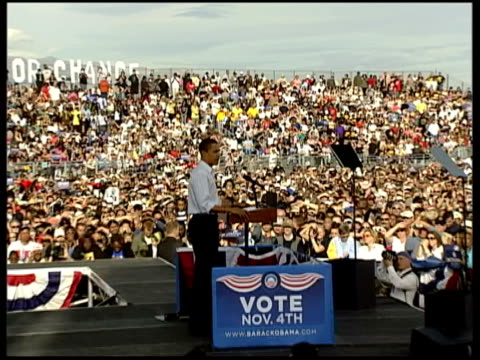 Barack Obama speaks at rally in Nevada More of Obama speech and good CUTAWAYs of crowd listening some smiling and laughing and responding to his...