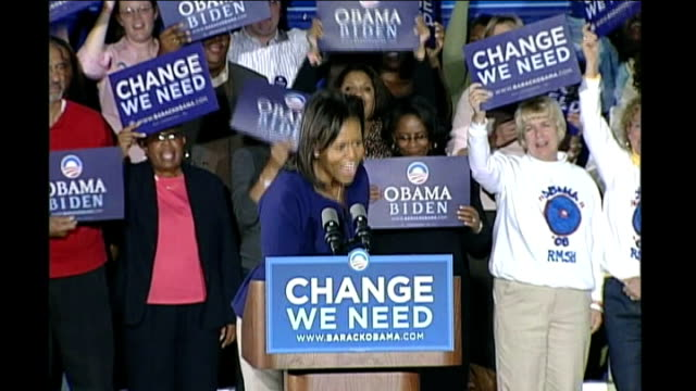 final weekend of campaigning usa north carolina photography *** michelle obama speech sot my question north carolina is can we do this can we do this... - 2008 stock videos and b-roll footage