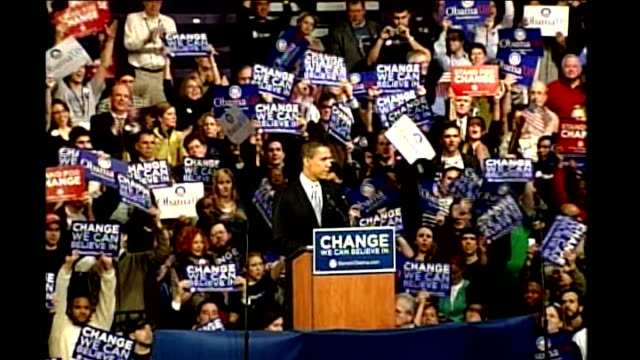 stockvideo's en b-roll-footage met hillary clinton john mccain win new hampshire primary barack obama speech at rally sot want to congratulate senator clinton on a hard fought victory... - 2008