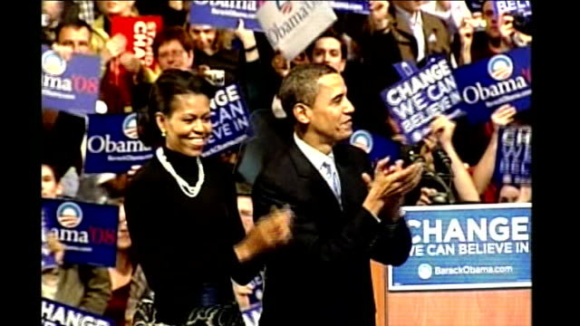 stockvideo's en b-roll-footage met hillary clinton john mccain win new hampshire primary barack obama and wife michelle obama clapping and waving at rally obama supporters waving... - 2008