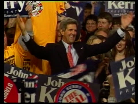 kerry wins in iowa itn resale iowa int ms john kerry at podium after his win in the iowa caucuses sot cms kerry with supporters around cms kerry... - 2004 stock videos & royalty-free footage