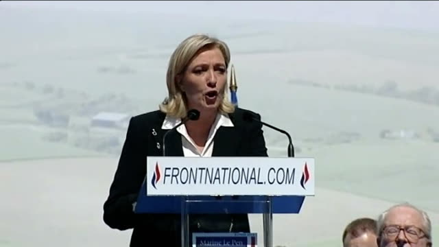 national front leader refuses to back nicolas sarkozy marine le pen speech sot you are free citizens you can vote freely i have no confidence in... - national front stock videos & royalty-free footage