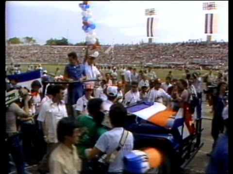 Presidential elections UPITN MS Election rally ARENA Party supporters carrying Salvadorian flag MS Roberto d'Aubuisson in jeep along LR MS People in...