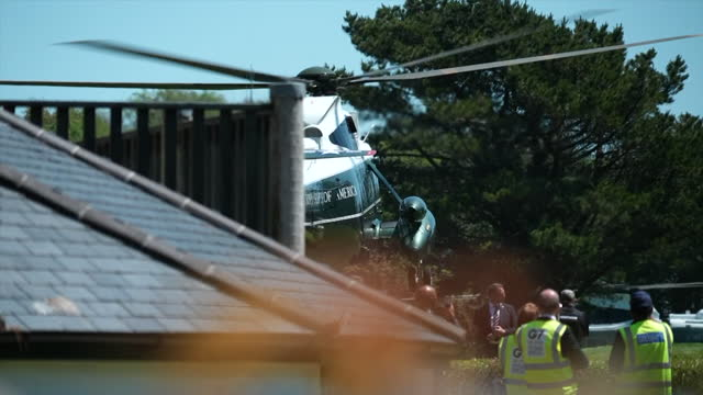 presidential helicopter, marine one, departs g7 summit in carbis bay, cornwall, carrying president joe biden and first lady jill biden - us president stock videos & royalty-free footage