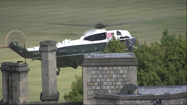 presidential helicopter marine one, lands at windsor castle, as president joe biden and his wife jill arrive to meet the queen - us president stock videos & royalty-free footage