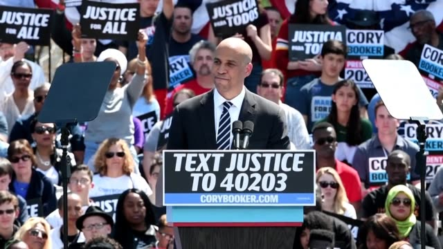 presidential hopeful cory booker kicks off a series of rallies in his hometown newark new jersey - hometown stock videos and b-roll footage