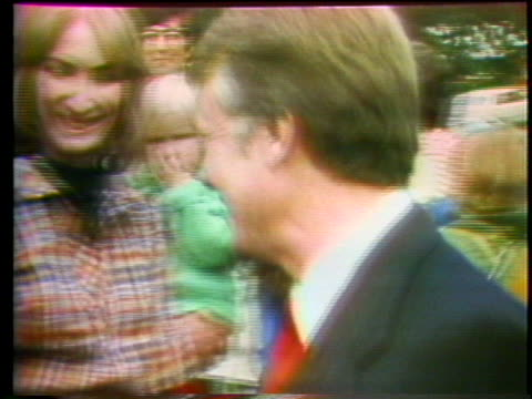 presidential hopeful jimmy carter attends a motorcycle race in portland oregon while campaigning during the 1976 united states presidential race - portland oregon bike stock videos & royalty-free footage