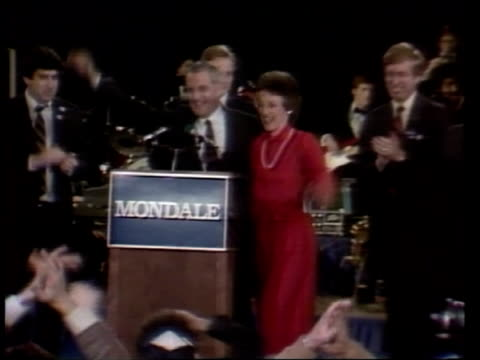 iowa caucus usa iowa des moines int **music heard sot** walter mondale and wife joan waving from podium to cheering supporters - 1984 stock videos & royalty-free footage