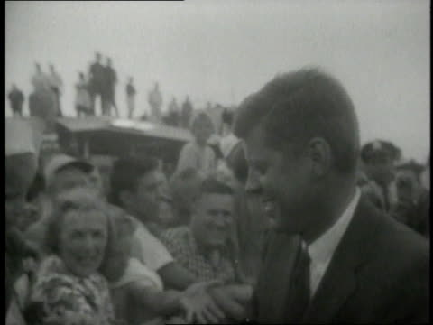presidential nominee jfk greeting a crowd and shaking hands / united states - presidential election stock videos and b-roll footage