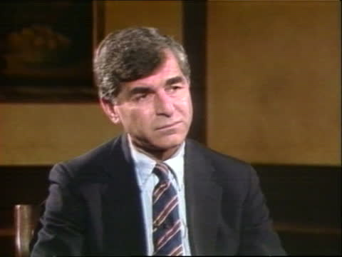 presidential primaries: california:; also available - nat: dukakis intvw usa: california: los angeles: int cms michael dukakis intvw sof video ex eng... - western usa stock videos & royalty-free footage