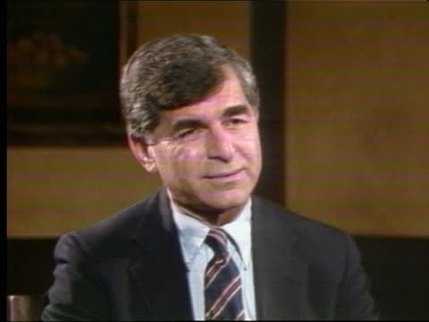 presidential primaries: california:; c) usa: california: los angeles: int michael dukakis chats as stourtonin bv bv dukakis chats stourton cms... - western usa stock videos & royalty-free footage