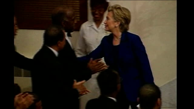 race comes to fore in south carolina * * hymn singing heard during the following shots sot * * clinton greeting members of church congregation * flash - congregation stock videos and b-roll footage