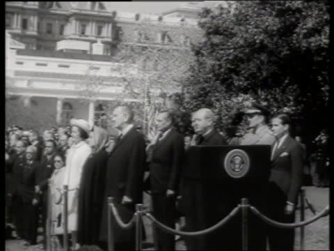 b/w presidential reception line with lbj and indira gandhi / 1960's / sound - indira gandhi stock videos & royalty-free footage