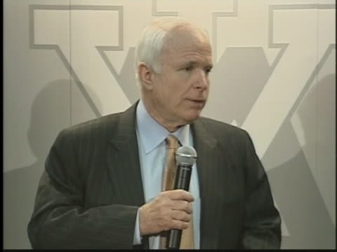 presidential-candidate john mccain discusses the war in iraq during a press conference. - (war or terrorism or election or government or illness or news event or speech or politics or politician or conflict or military or extreme weather or business or economy) and not usa stock videos & royalty-free footage