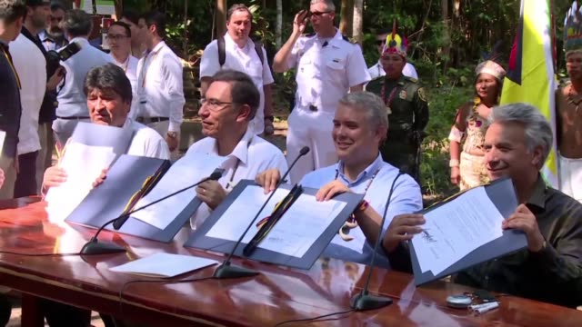 presidents and ministers from seven amazon countries meet in colombia to agree on measures to protect the world's biggest rainforest under threat... - martín vizcarra stock videos & royalty-free footage