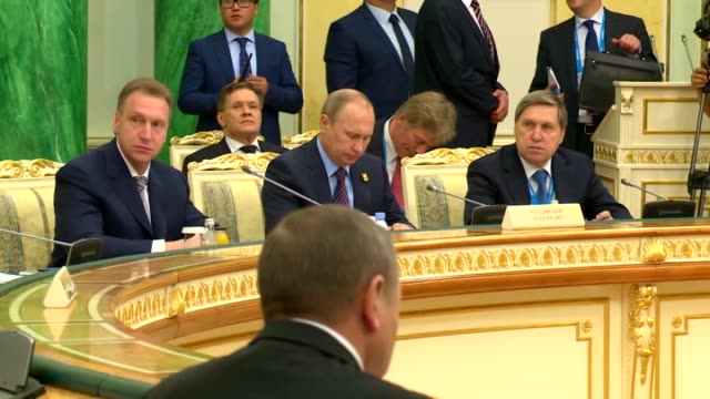 presidents nursultan nazarbayev of kazakhstan, vladimir putin of russia, almazbek atambayev of kyrgyzstan, alexander lukashenko of kyrgyzstan and... - tre quarti video stock e b–roll