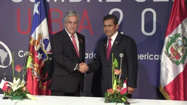 presidents of peru and chile say they will gradually implement the decision of the international court of justice over the new maritime border... - international court of justice stock videos and b-roll footage