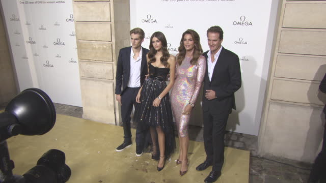 presley gerber, kaia gerber, raynald aeschlimann, cindy crawford, rande gerber at 'her time' omega photocall as part of the paris fashion week... - cindy crawford stock videos & royalty-free footage