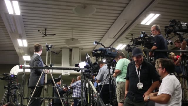 Press and cameras are prepared before US President Donald Trump delivers remarks during an event in Indianapolis Indiana US on Wednesday Sept 27 2017...