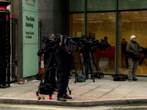 Press cameramen media outside the Rolls Building at the Royal Courts of Justice Leveson Enquiry Broadcast Media Outside Court at Royal Courts of...