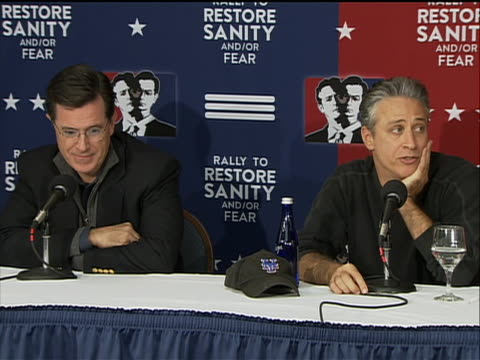 press conference about their rally to restore sanity - human joint stock videos & royalty-free footage