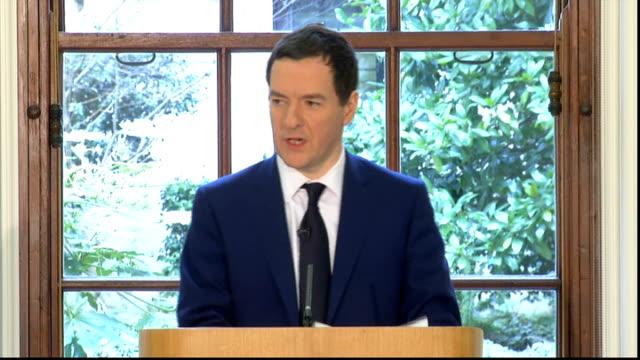 vídeos de stock e filmes b-roll de london treasury building int george osborne press conference sot - organização para a cooperação e o desenvolvimento económico