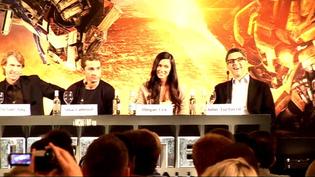 press conference for launch of movie 'transformers revenge of the fallen' shia labeouf megan fox and john turturro press conference sot - megan fox stock videos and b-roll footage