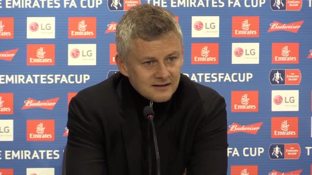 press conference manchester united caretaker manager ole gunnar solskjaer after saturday's fa cup quarter-final. - quarterfinal round stock videos & royalty-free footage