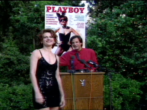 press conference mike perlis joined by sandra bernhard at podium thanks everyone for coming resumes party and tells guest to meet them in grotto... - playboy mansion stock videos & royalty-free footage